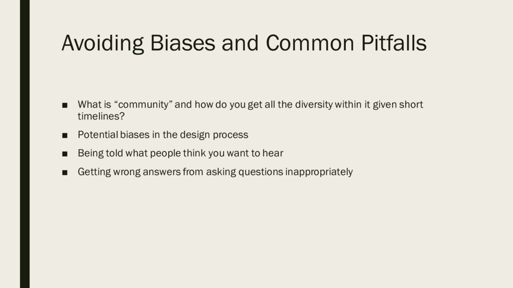 "Avoiding Biases and Common Pitfalls ■ What is ""..."