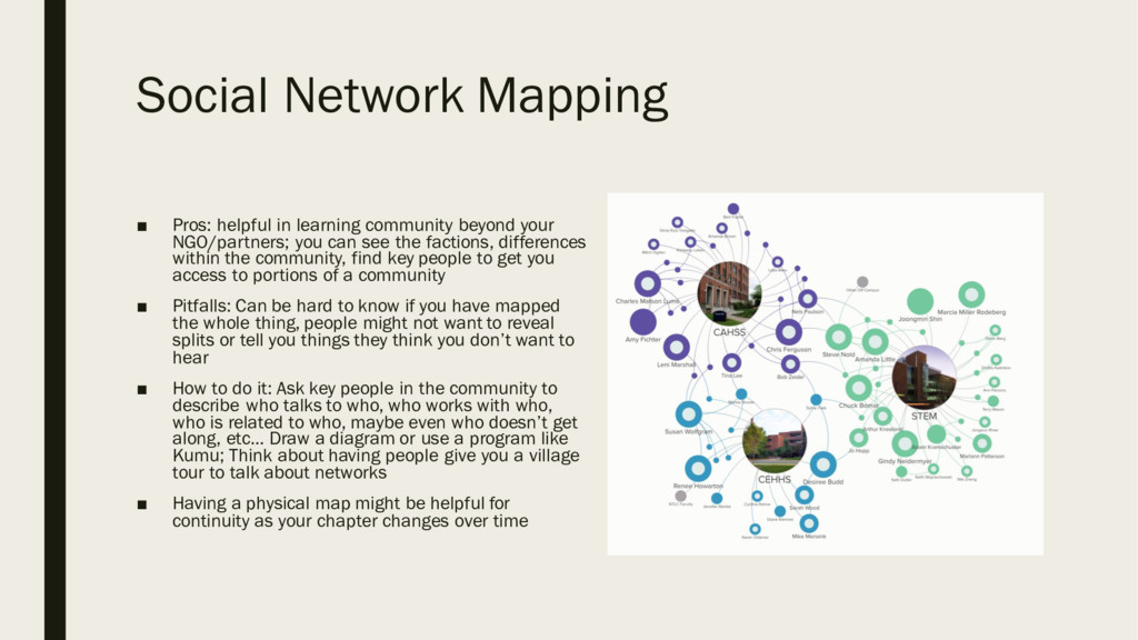 Social Network Mapping ■ Pros: helpful in learn...