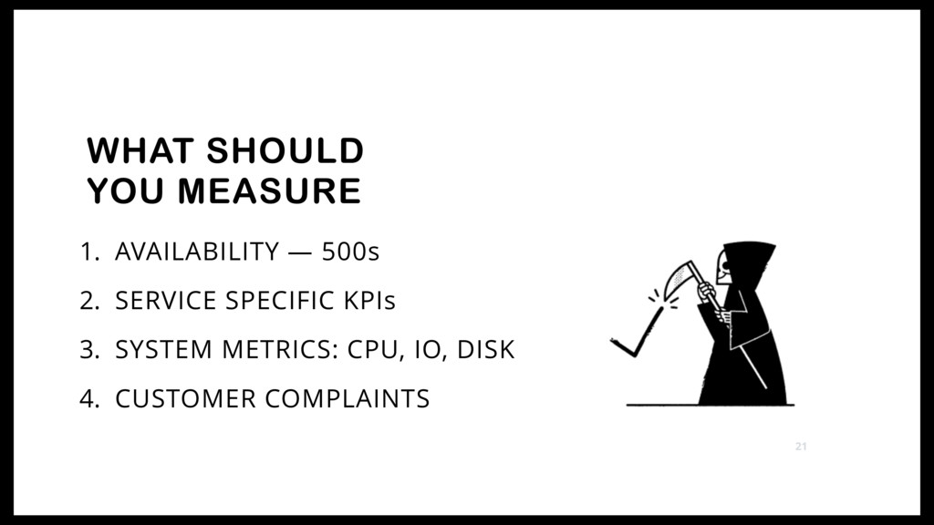 1. AVAILABILITY — 500s 2. SERVICE SPECIFIC KPIs...