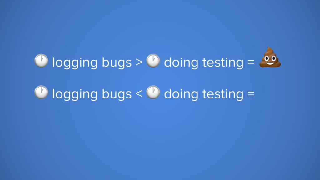 logging bugs >  doing testing =   logging bugs...