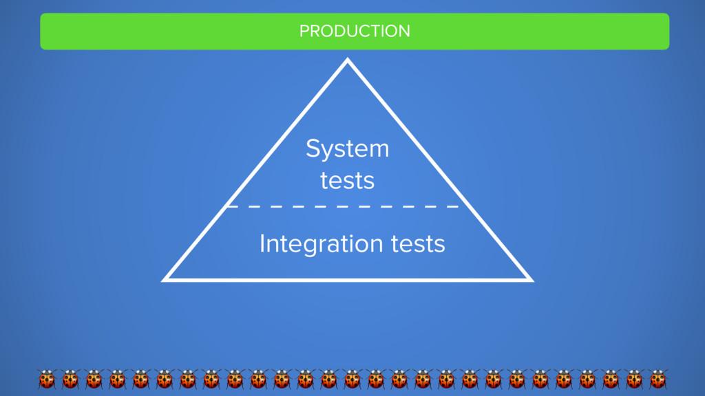 PRODUCTION  System tests Integration tests