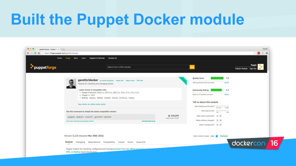 Built the Puppet Docker module