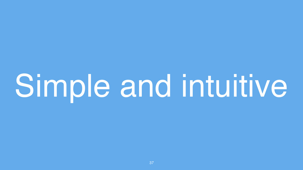 37 Simple and intuitive