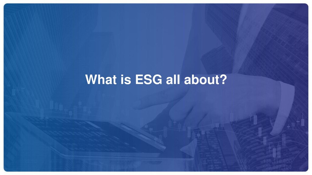 What is ESG all about?