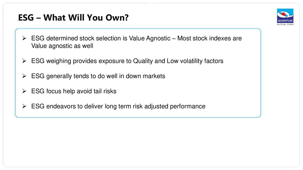 38  ESG determined stock selection is Value Ag...