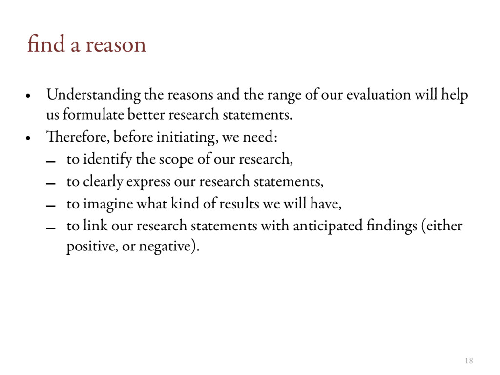 18 find a reason • Understanding the reasons and...