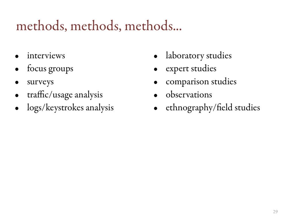 methods, methods, methods... • interviews • foc...