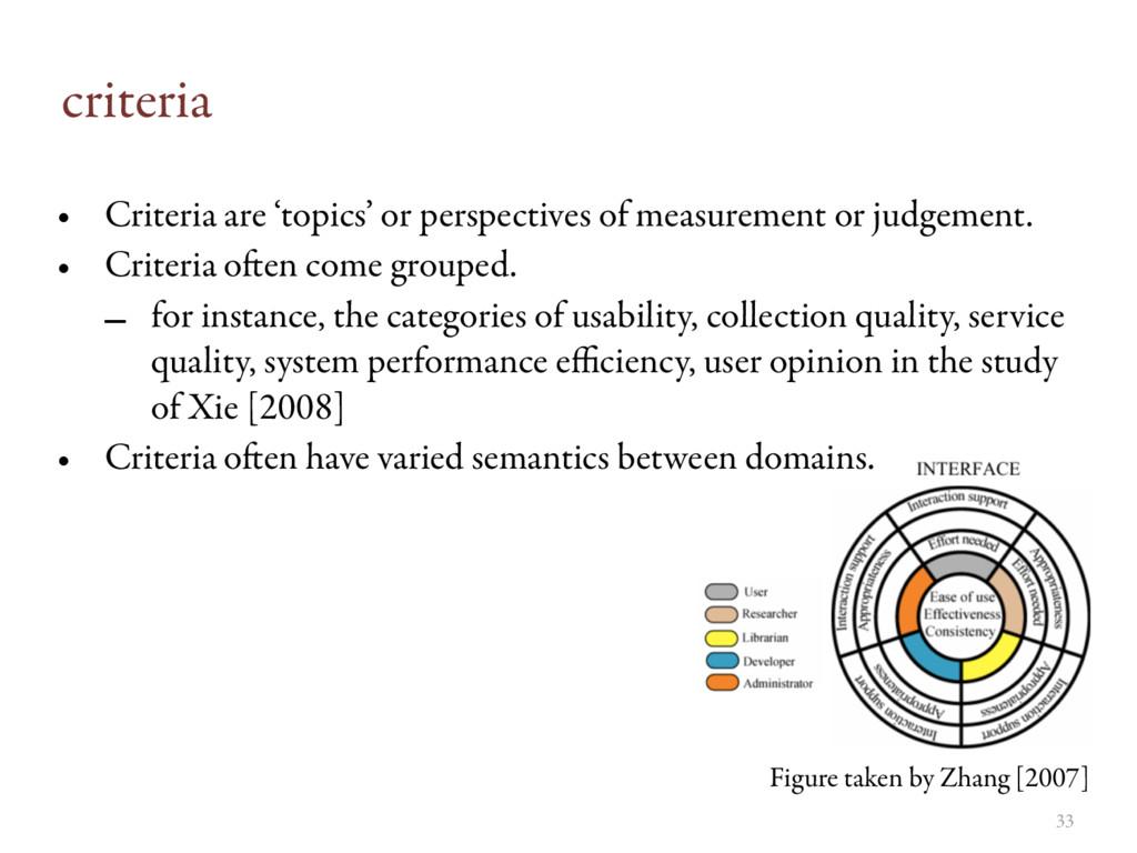 criteria • Criteria are 'topics' or perspective...