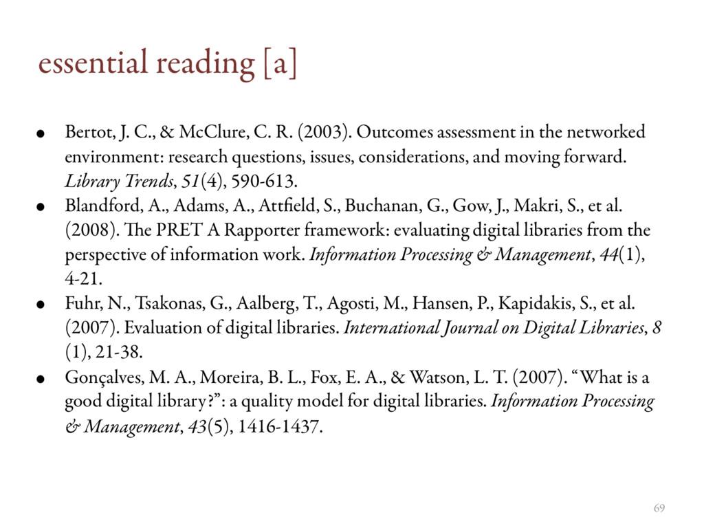 essential reading [a] • Bertot, J. C., & McClur...