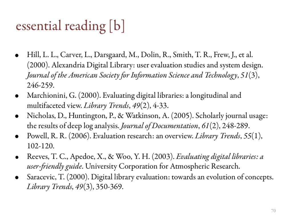 essential reading [b] • Hill, L. L., Carver, L....