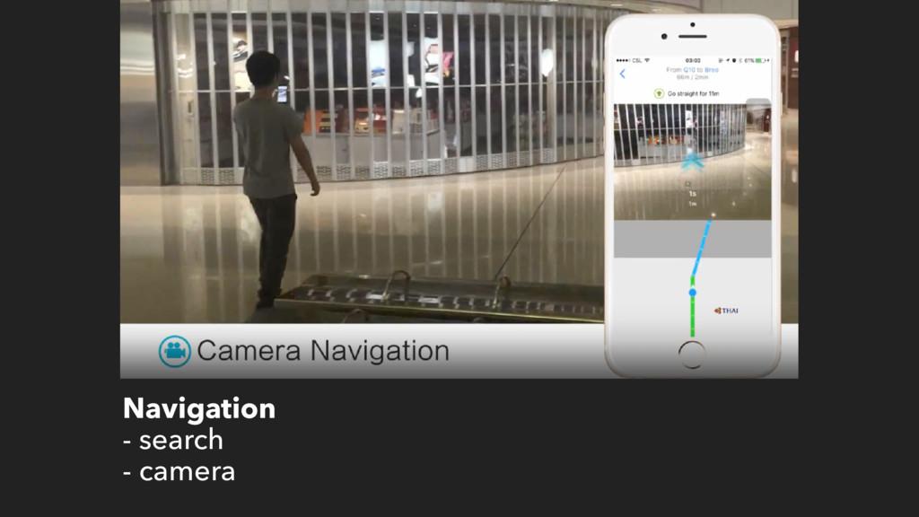 Navigation - search - camera