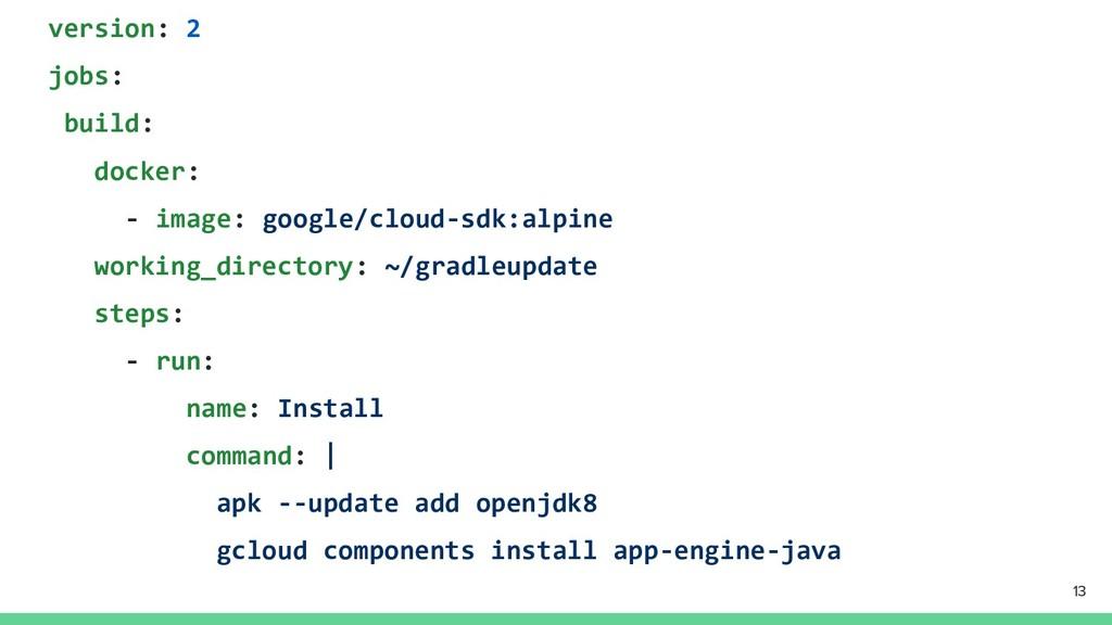 version: 2 jobs: build: docker: - image: google...