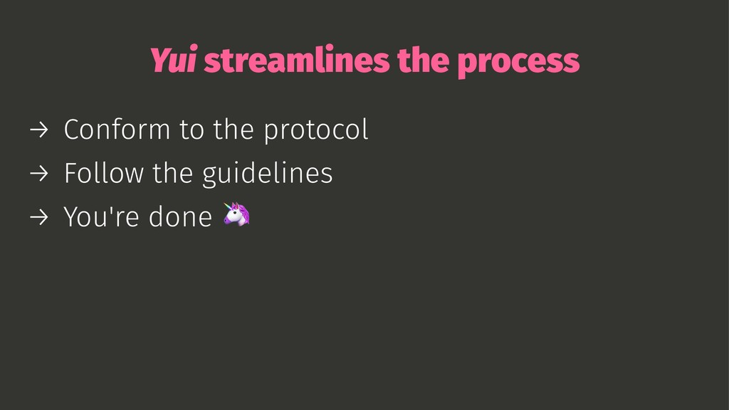 Yui streamlines the process → Conform to the pr...