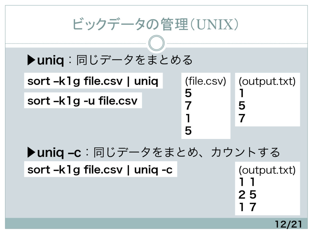ビックデータの管理(UNIX) ɹ⾣VOJRɿಉ͡σʔλΛ·ͱΊΔ      ...
