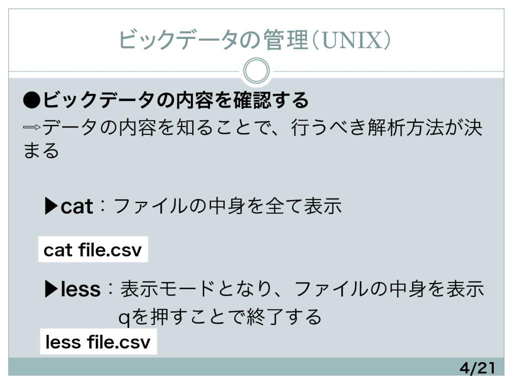 ビックデータの管理(UNIX) ˔ϏοΫσʔλͷ༰Λ֬͢Δ σʔλͷ༰ΛΔ͜ͱ...