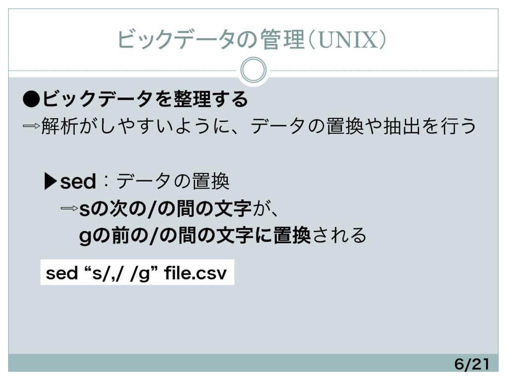 ビックデータの管理(UNIX) ˔ϏοΫσʔλΛཧ͢Δ ղੳ͕͍͢͠Α͏ʹɺσʔλ...