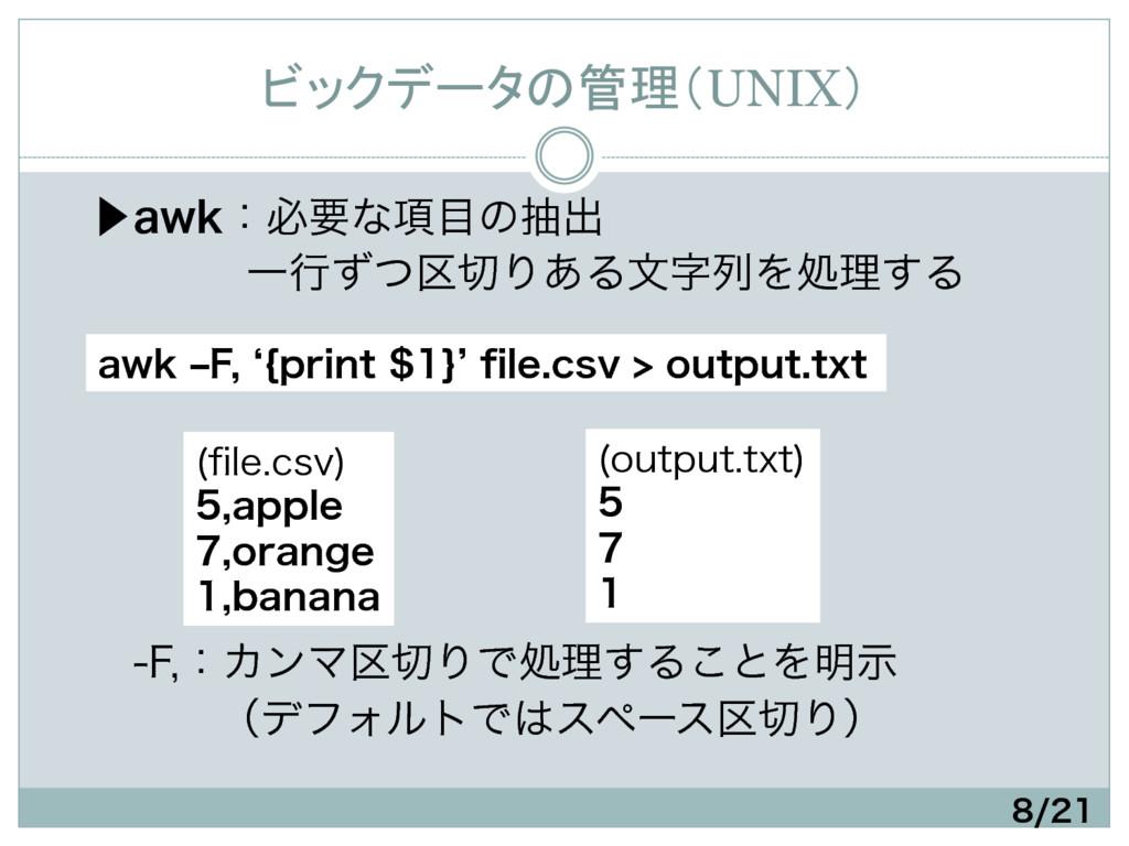 ビックデータの管理(UNIX) ɹ⾣BXLɿඞཁͳ߲ͷநग़ ɹɹɹɹҰߦͣͭ۠Γ...