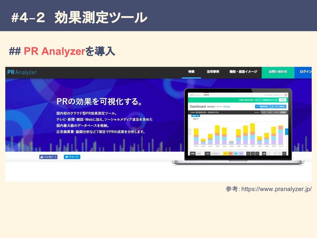 #4−2 効果測定ツール 参考:https://www.pranalyzer.jp/ ## P...