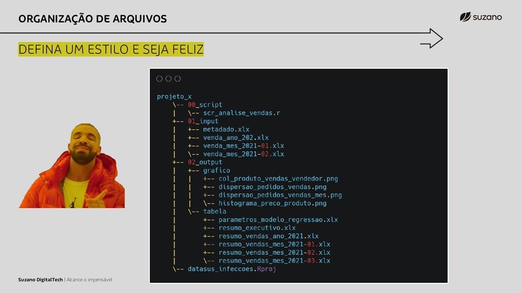 ORGANIZAÇÃO DE ARQUIVOS DEFINA UM ESTILO E SEJA...