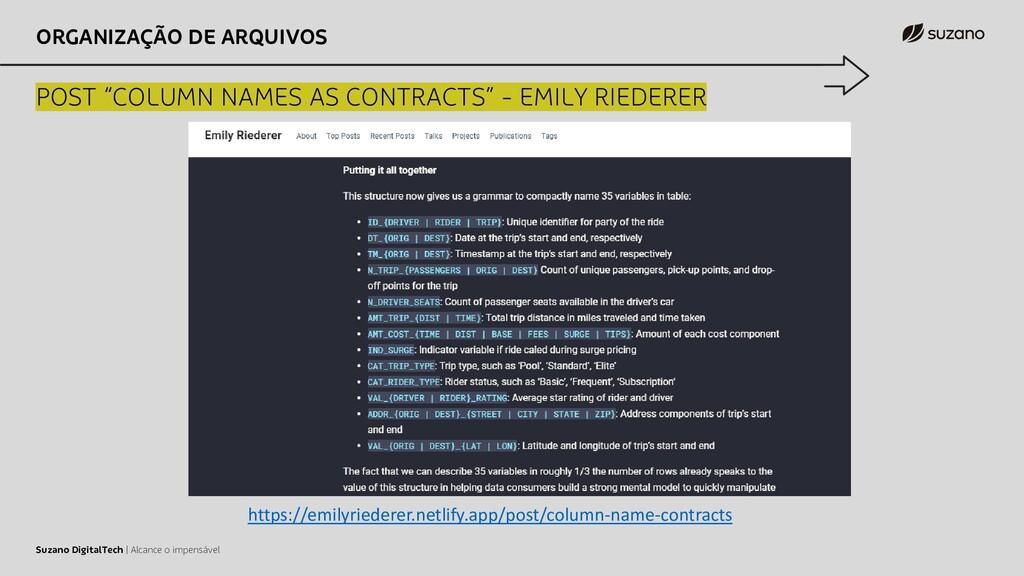 """ORGANIZAÇÃO DE ARQUIVOS POST """"COLUMN NAMES AS C..."""