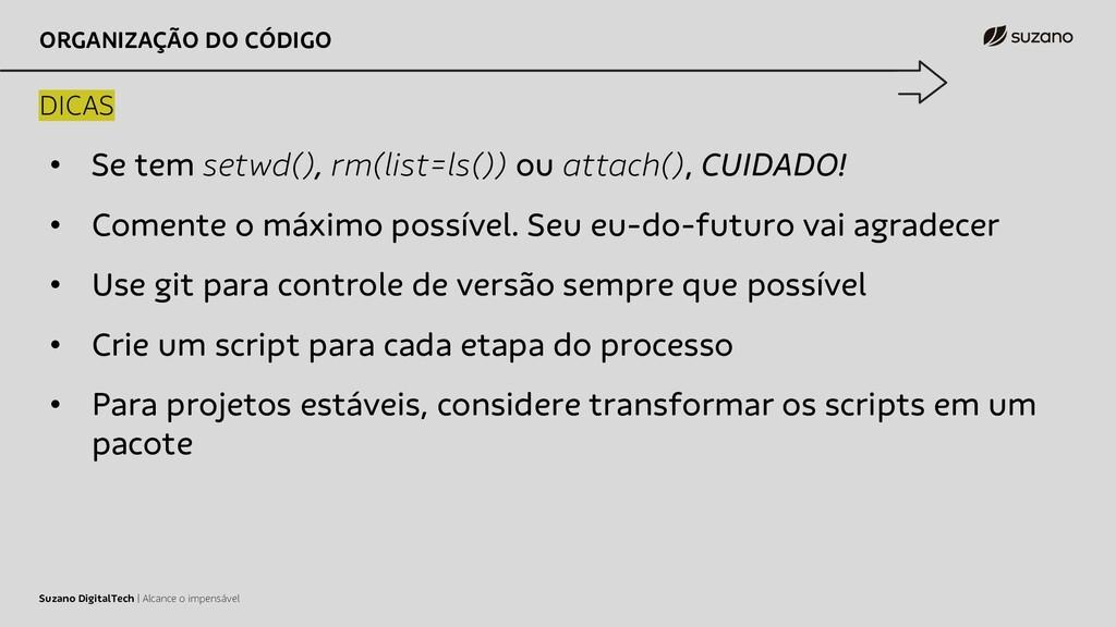 ORGANIZAÇÃO DO CÓDIGO DICAS Suzano DigitalTech ...