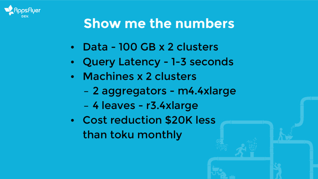 Show me the numbers • Data - 100 GB x 2 cluster...