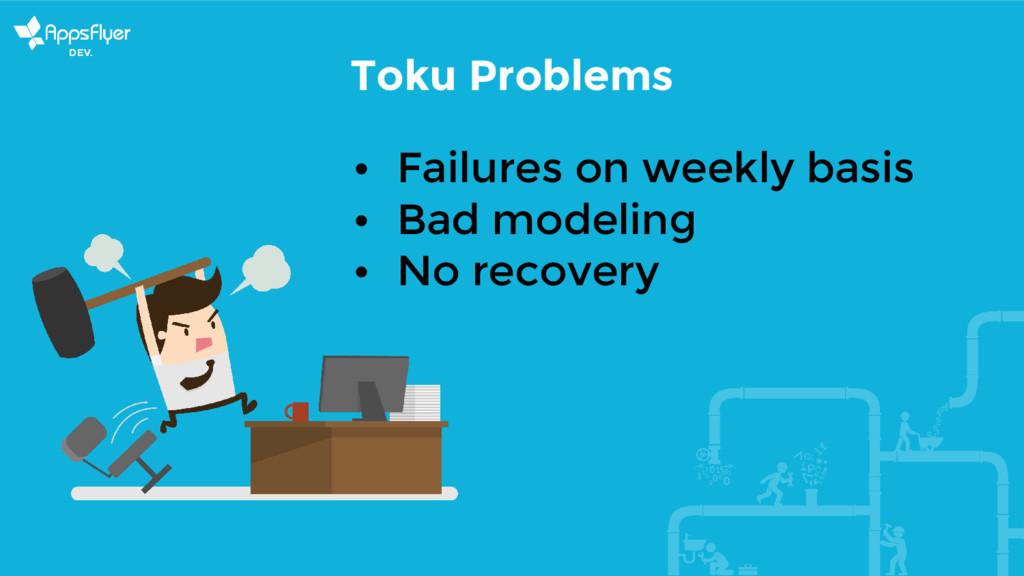 Toku Problems • Failures on weekly basis • Bad ...