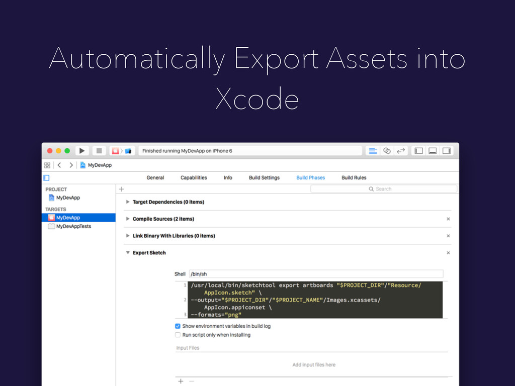 Automatically Export Assets into Xcode
