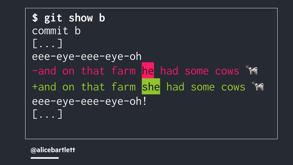 @alicebartlett $ git show b commit b [...] eee-...