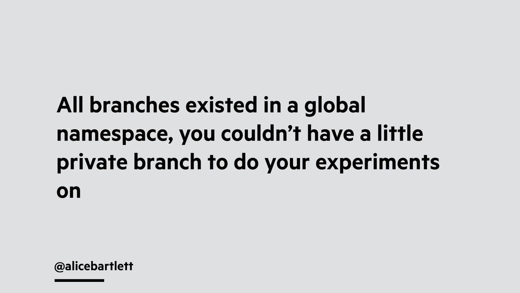 @alicebartlett All branches existed in a global...