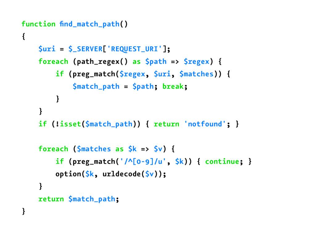 function find_match_path() { $uri = $_SERVER['RE...