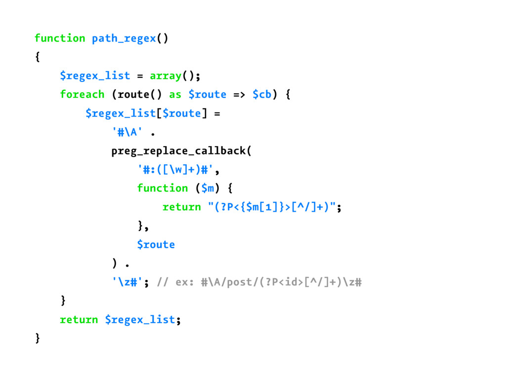 function path_regex() { $regex_list = array(); ...