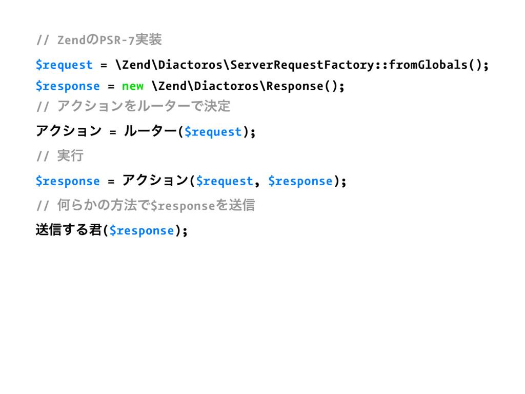 // ZendͷPSR-7࣮ $request = \Zend\Diactoros\Serv...