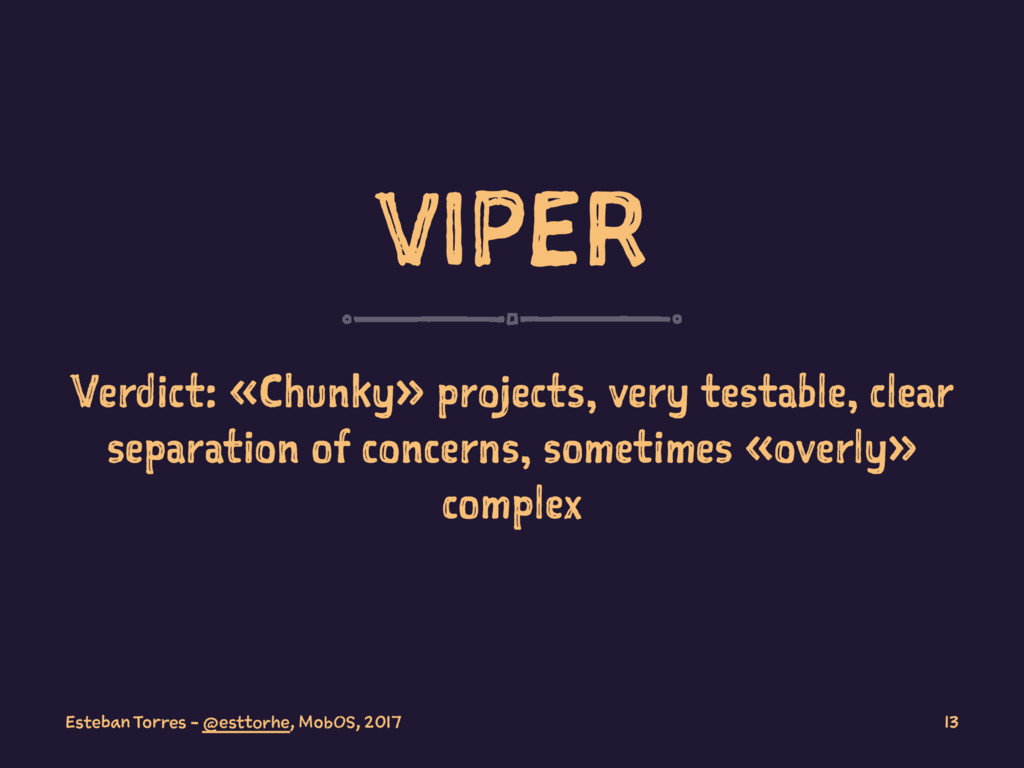 VIPER Verdict: «Chunky» projects, very testable...