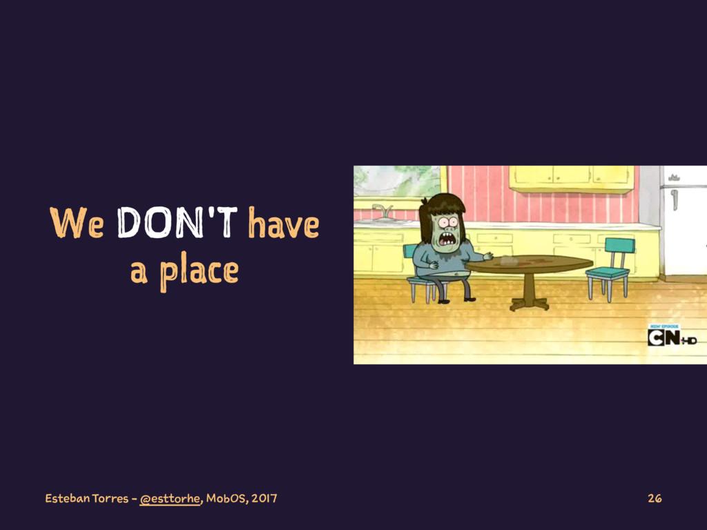 We DON'T have a place Esteban Torres - @esttorh...