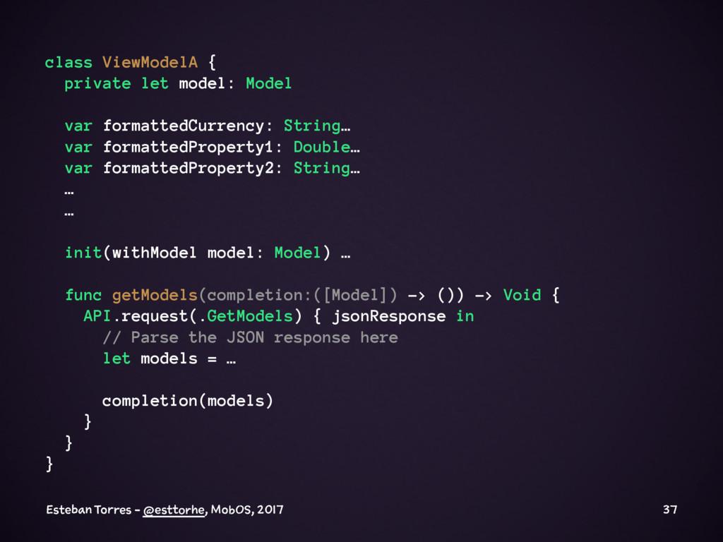 class ViewModelA { private let model: Model var...