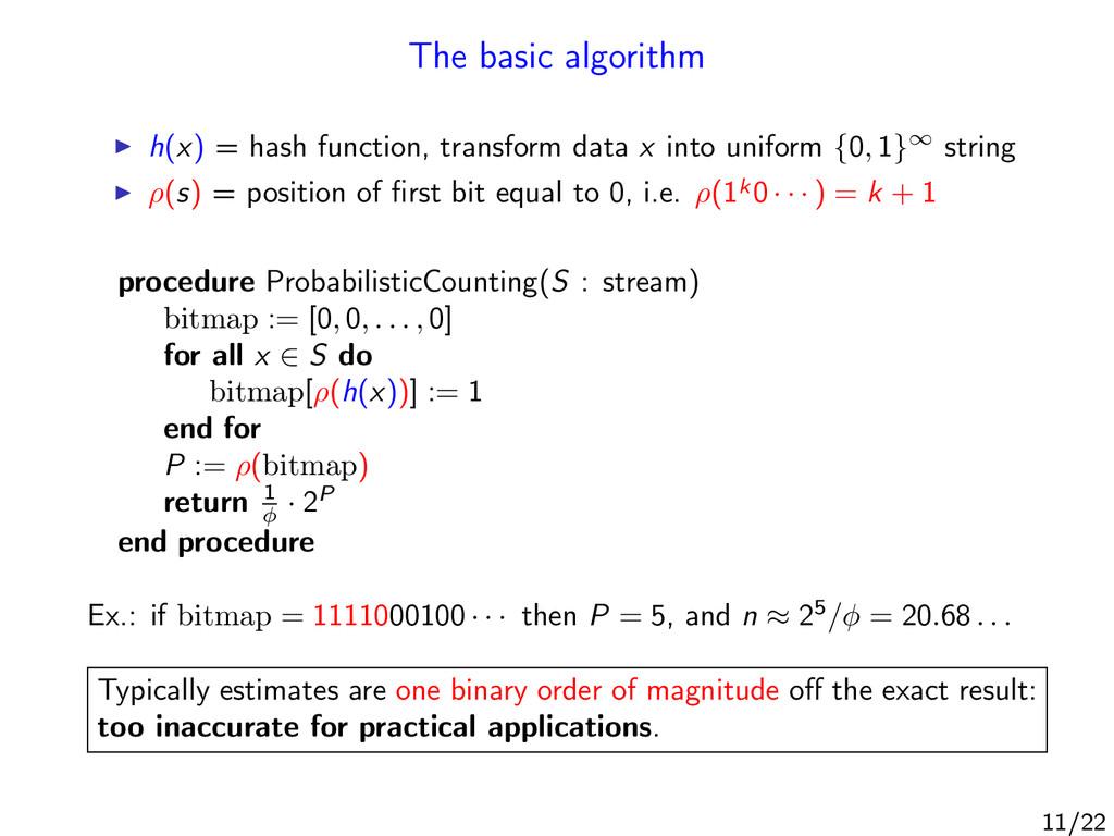The basic algorithm h(x) = hash function, trans...