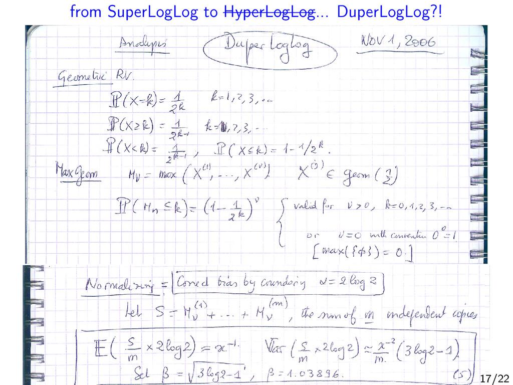 from SuperLogLog to HyperLogLog... DuperLogLog?...