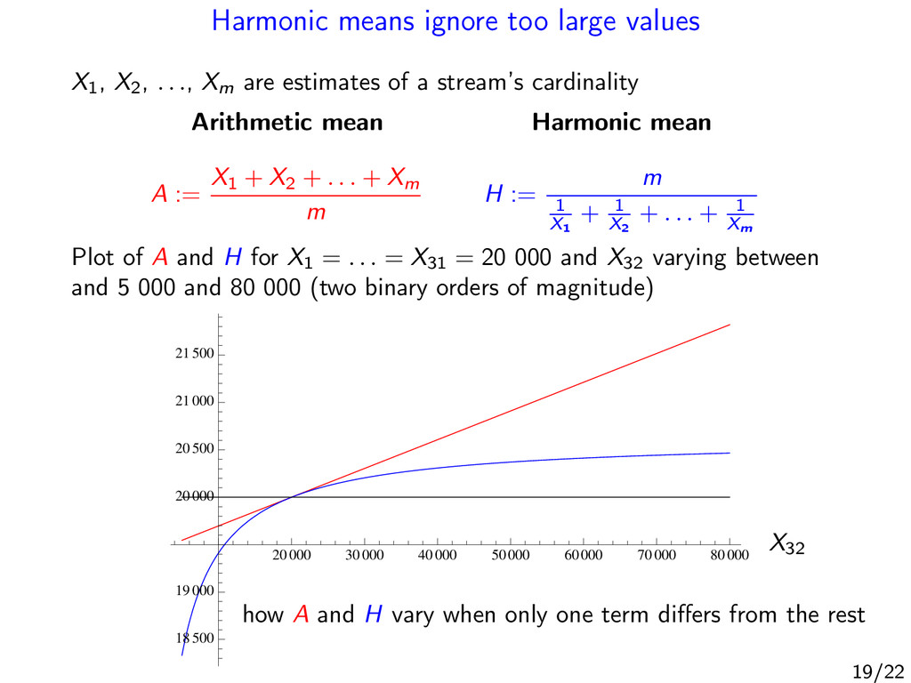 Harmonic means ignore too large values X1 , X2 ...