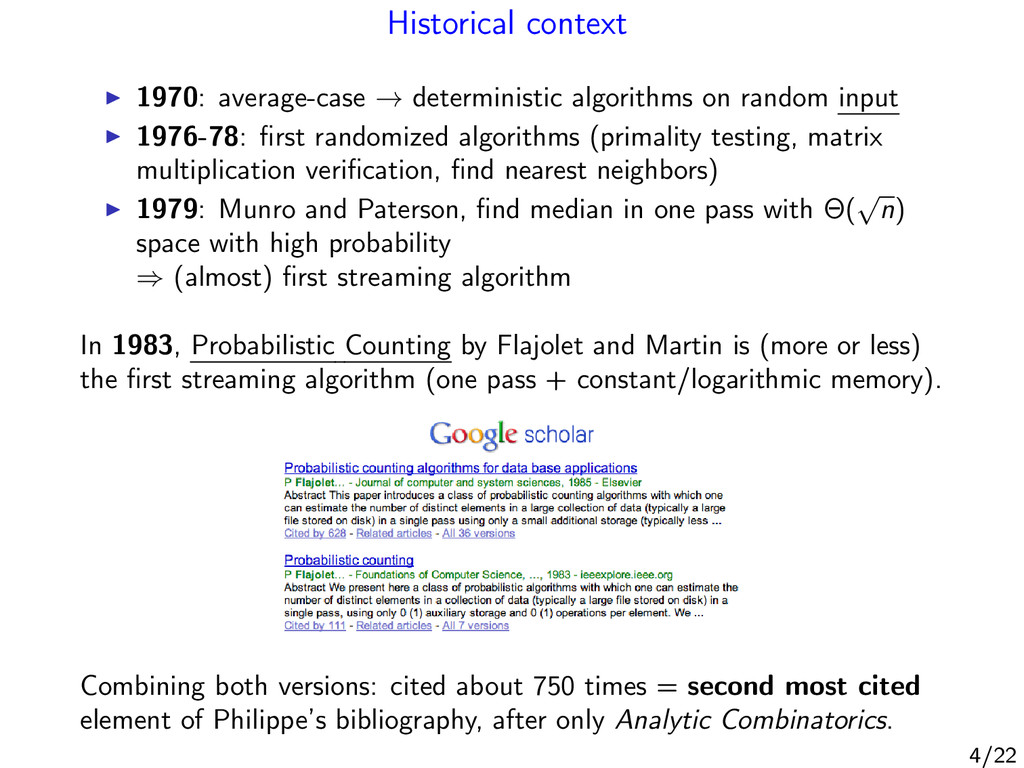 Historical context 1970: average-case → determi...