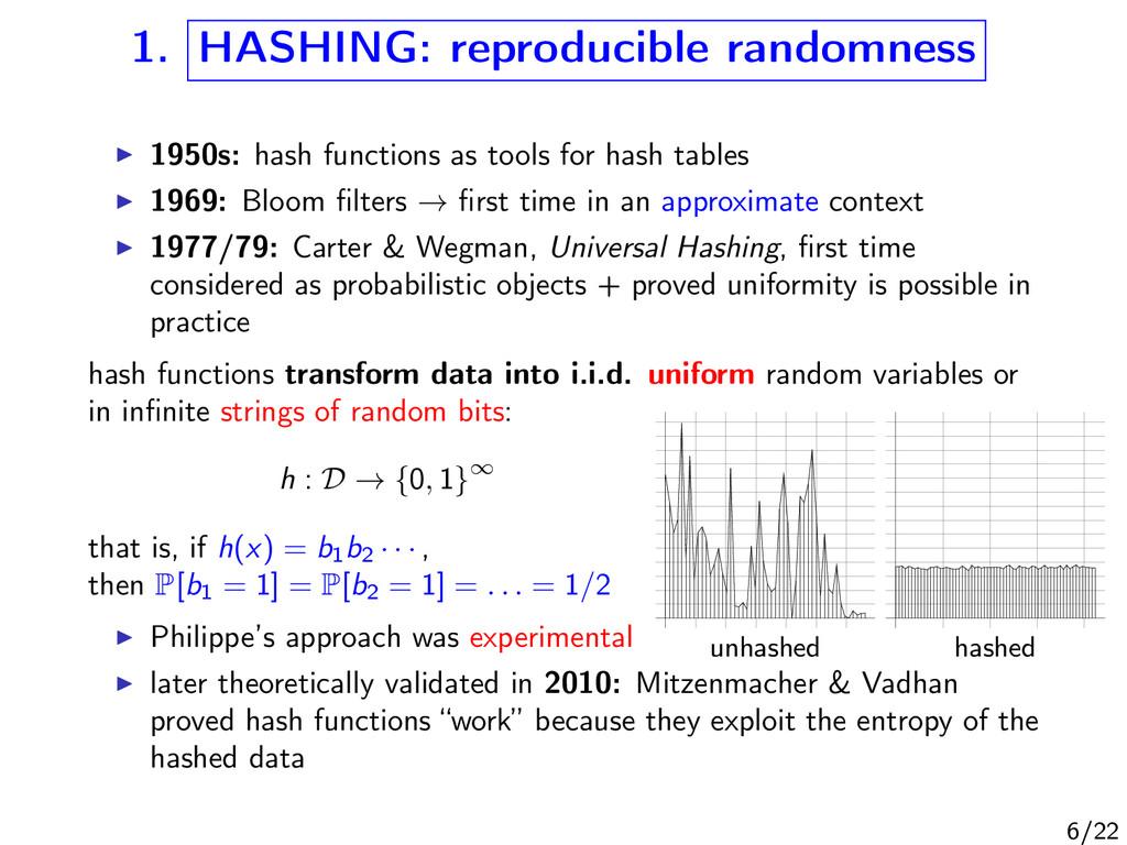 1. HASHING: reproducible randomness unhashed ha...