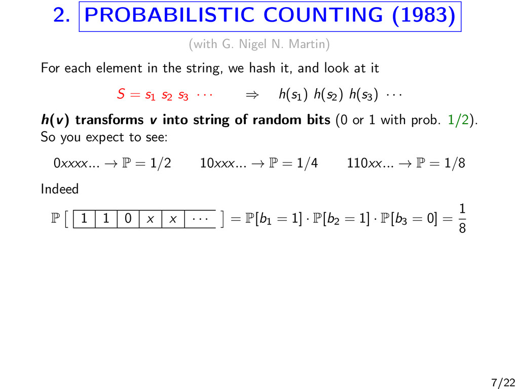 2. PROBABILISTIC COUNTING (1983) (with G. Nigel...