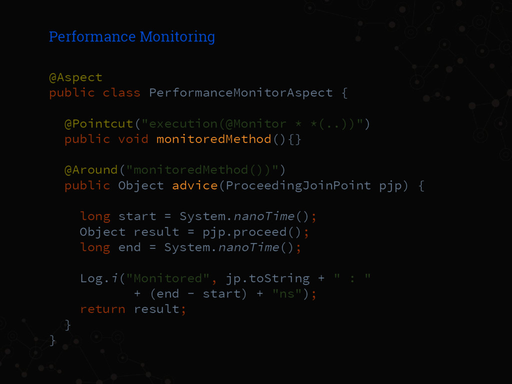 Performance Monitoring @Aspect public class Per...