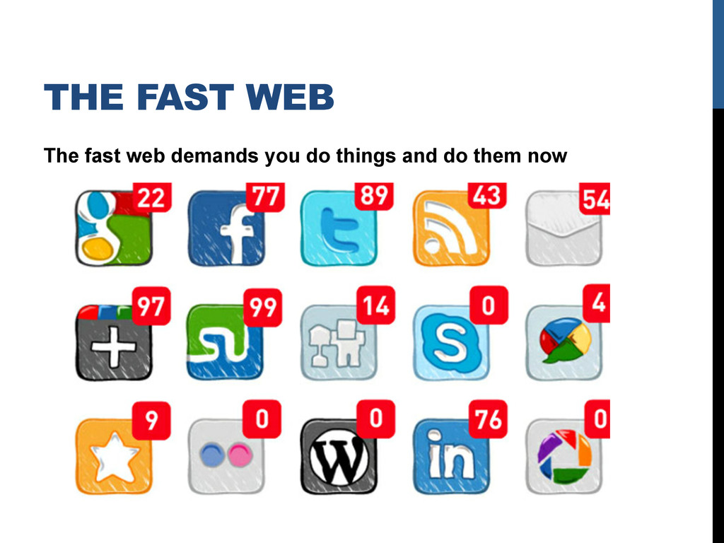THE FAST WEB The fast web demands you do things...