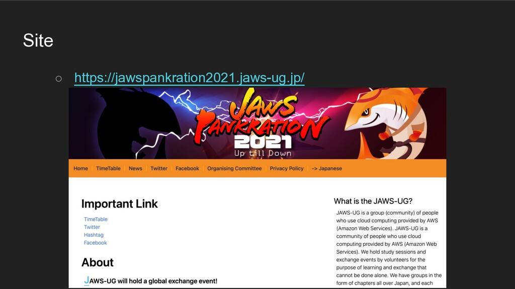 Site ○ https://jawspankration2021.jaws-ug.jp/