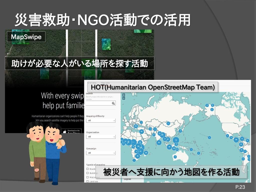 災害救助・NGO活動での活用 P.23 被災者へ支援に向かう地図を作る活動 HOT(Human...