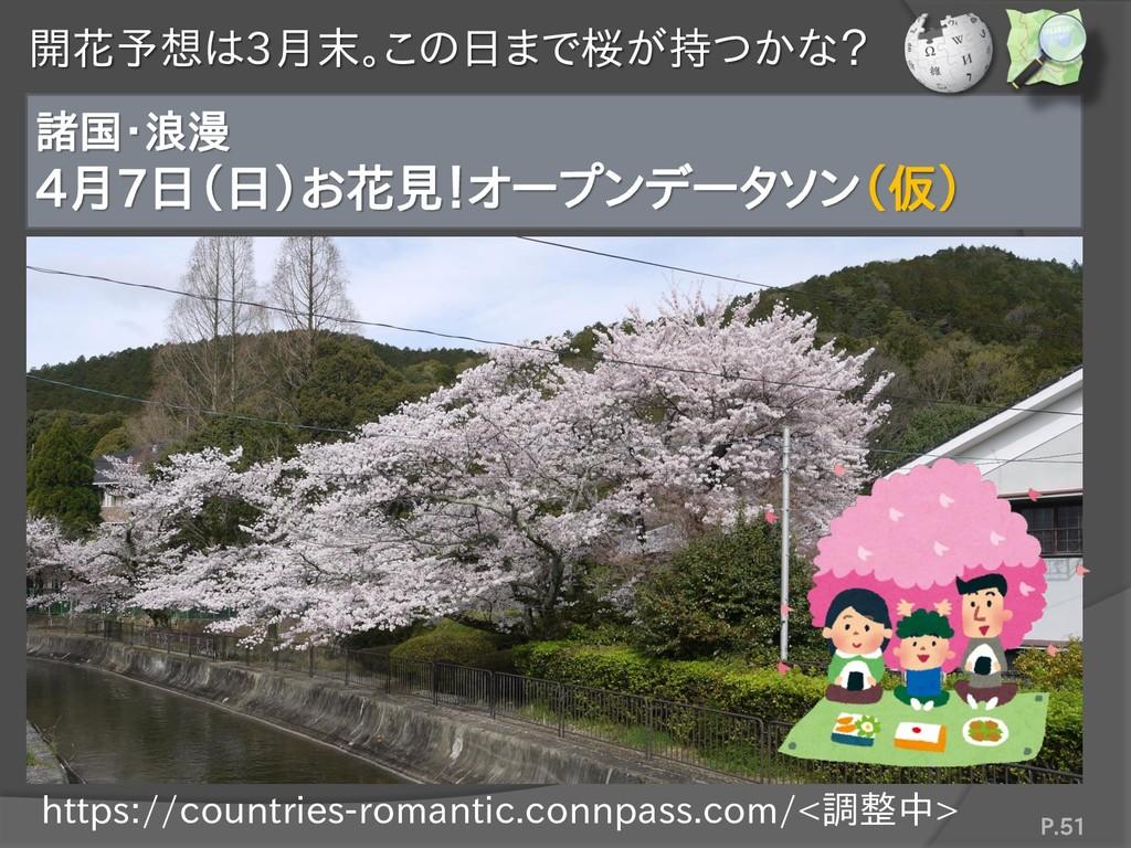 開花予想は3月末。この日まで桜が持つかな? 諸国・浪漫 4月7日(日)お花見!オープンデータソ...