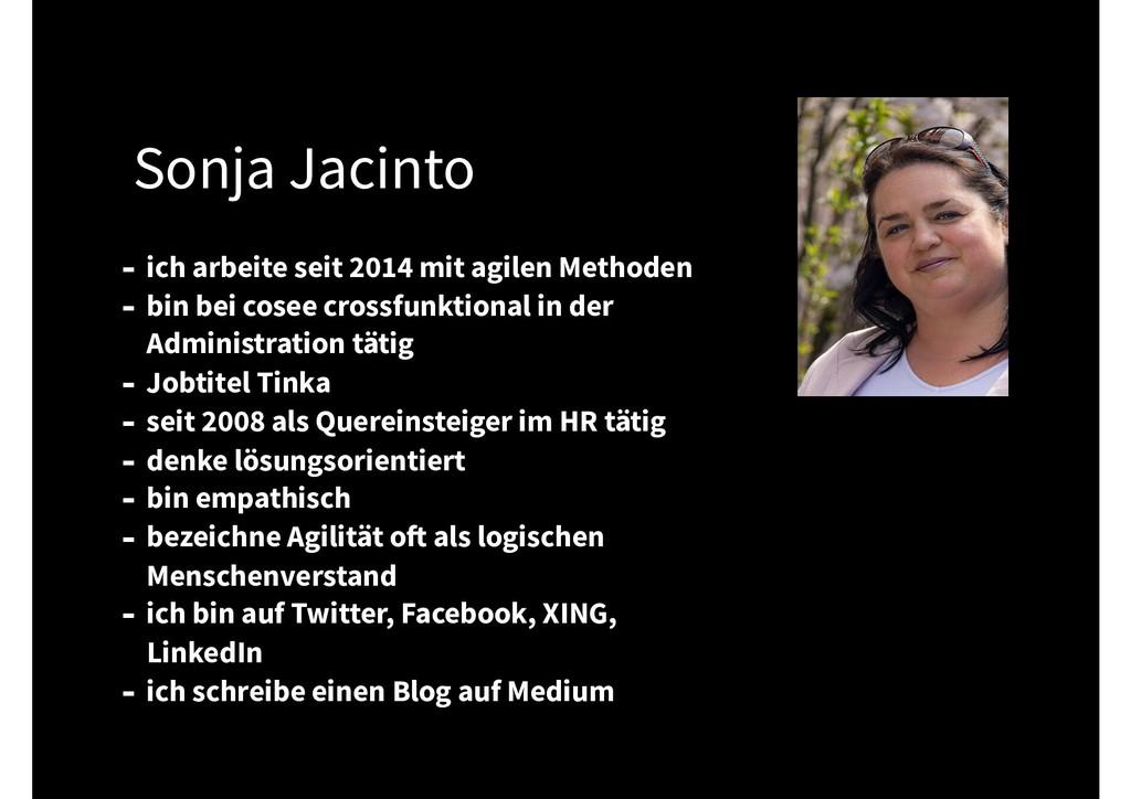 Sonja Jacinto - ich arbeite seit 2014 mit agile...