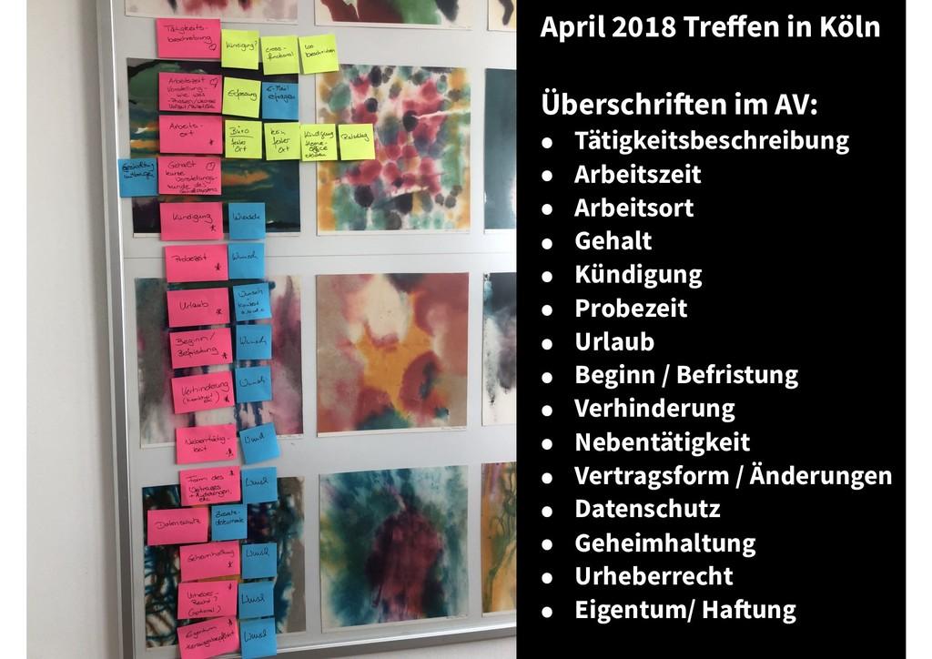 April 2018 Treffen in Köln Überschriften im AV: ...