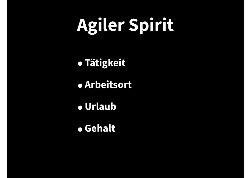 Agiler Spirit •Tätigkeit •Arbeitsort •Urlaub •G...